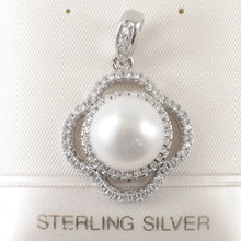 Load image into Gallery viewer, Beautiful White Cultured Pearl; Silver .925 & Cubic Zirconia Lovely Pendant