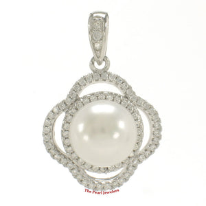 Beautiful White Cultured Pearl; Silver .925 & Cubic Zirconia Lovely Pendant