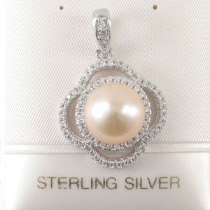 Beautiful Pink Cultured Pearl; Silver .925 & Cubic Zirconia Lovely Pendant