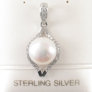 Beautiful Cubic Zirconia & White Cultured Pearl Solid Silver 925 Pendant