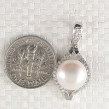 Load image into Gallery viewer, Beautiful Cubic Zirconia & White Cultured Pearl Solid Silver 925 Pendant