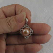 Load image into Gallery viewer, Beautiful Pink Cultured Pearl & Cubic Zirconia Sterling Silver .925 Pendant
