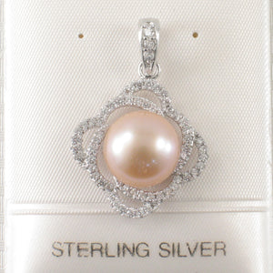 Beautiful Pink Cultured Pearl & Cubic Zirconia Sterling Silver .925 Pendant