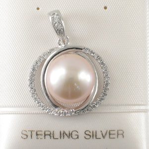 Beautiful Pink Cultured Pearls Solid Silver 925 & Cubic Zirconia Pendant