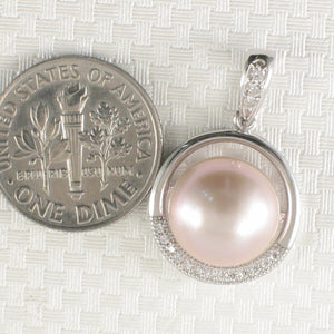 Beautiful Pink Cultured Pearls & Cubic Zirconia 925 Sterling Silver Pendant