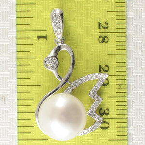 Sterling Silver .925 Beautiful White Cultured Pearl & Cubic Zirconia Pendant