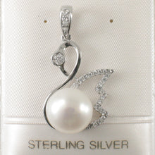 Load image into Gallery viewer, Sterling Silver .925 Beautiful White Cultured Pearl & Cubic Zirconia Pendant