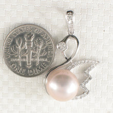 Load image into Gallery viewer, Sterling Silver .925 Beautiful Pink Cultured Pearl & Cubic Zirconia Pendant