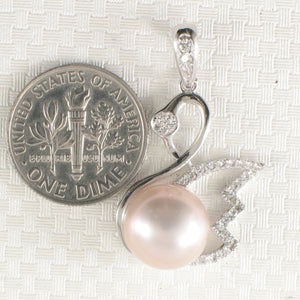 Sterling Silver .925 Beautiful Pink Cultured Pearl & Cubic Zirconia Pendant