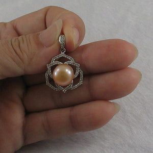 Beautiful Pink Cultured Pearls & Cubic Zirconia Solid Silver 925 Pendant