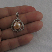 Load image into Gallery viewer, Beautiful Pink Cultured Pearls & Cubic Zirconia Solid Silver 925 Pendant