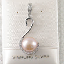 Load image into Gallery viewer, Beautiful Pink Cultured Pearls & Cubic Zirconia 925 Sterling Silver Pendant