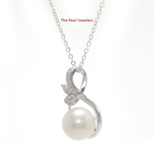 Beautiful White Cultured Pearls & Cubic Zirconia 925 Sterling Silver Pendant