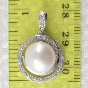 Beautiful 11mm White Cultured Pearl; Cubic Zirconia Solid Silver 925 Pendant