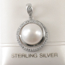 Load image into Gallery viewer, Beautiful 11mm White Cultured Pearl; Cubic Zirconia Solid Silver 925 Pendant