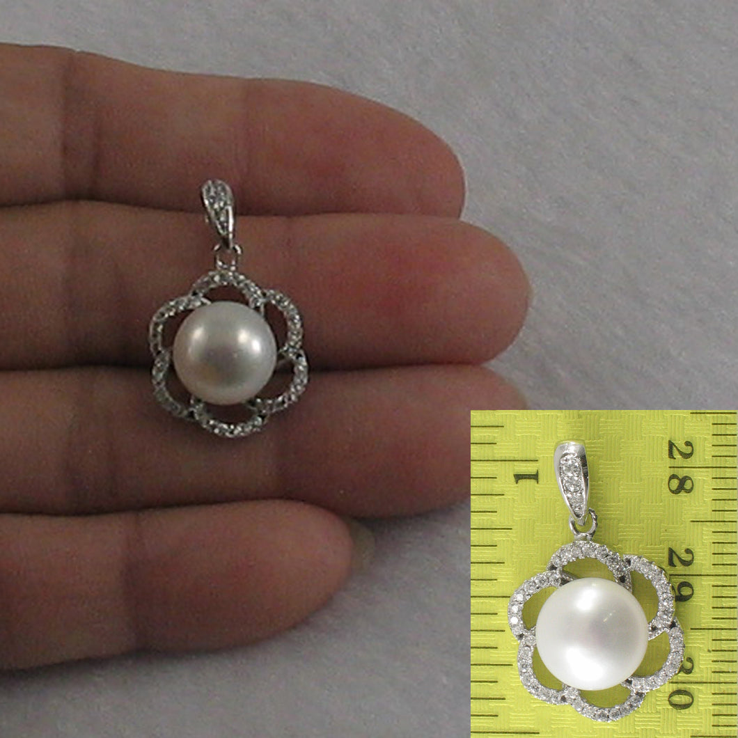 Beautiful Pendant Crafted from White Cultured Pearls Solid Silver 925 & C. Z.