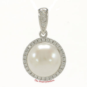 Unique Pendant Crafted from White Cultured Pearls, Solid Silver 925 & C.Z.