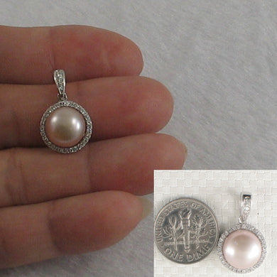 Unique Pendant Crafted from Pink Cultured Pearls, Solid Silver 925 & C.Z