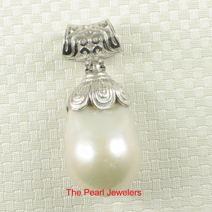 Solid Sterling Silver 925 & Genuine Baroque Nucleated Culture Pearl Pendant