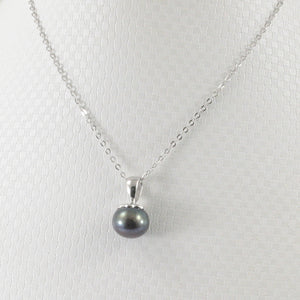 Black Freshwater Cultured Pearl Handcraft of Solid Sterling Silver 925 Pendant