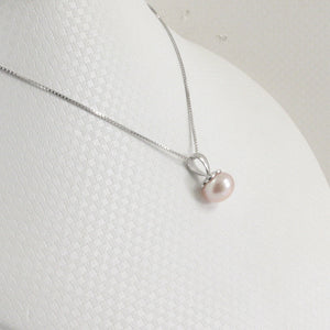 Genuine Pink Cultured Pearl Handcraft of Solid Sterling Silver 925 Pendant