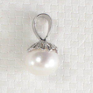 Solid Sterling Silver 925; White F/W Cultured Pearl Pumpkin Shape Pendant