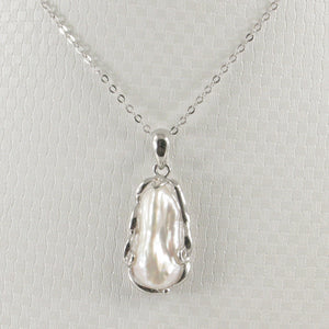 Solid Silver 925 Setting a Genuine 8mm x 18mm White Biwa Pearl Pendant