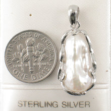 Load image into Gallery viewer, Solid Silver 925 Setting a Genuine 8mm x 18mm White Biwa Pearl Pendant