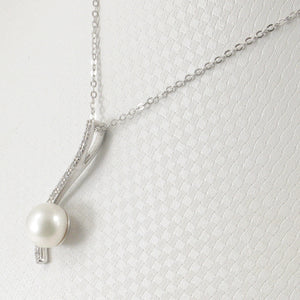 Solid Silver 925 Water Flow Pendant; White Cultured Pearl & Cubic Zirconia