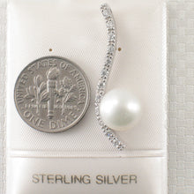 Load image into Gallery viewer, Solid Silver 925 Water Flow Pendant; White Cultured Pearl & Cubic Zirconia