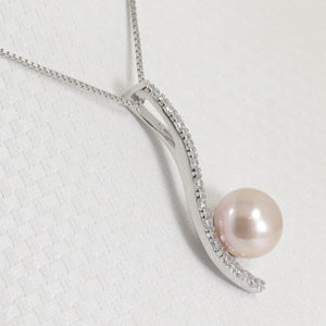 Solid Silver 925 Water Flow Pink Cultured Pearl & Cubic Zirconia Pendant