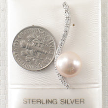 Load image into Gallery viewer, Solid Silver 925 Water Flow Pink Cultured Pearl & Cubic Zirconia Pendant