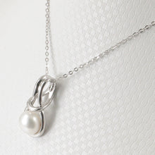 Load image into Gallery viewer, Love Knot Design White Cultured Pearl Crafted w/ Solid Silver 925 Pendant