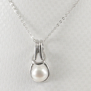 Love Knot Design White Cultured Pearl Crafted w/ Solid Silver 925 Pendant