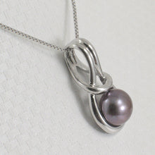Load image into Gallery viewer, Love Knot Design Black Cultured Pearl Pendant Crafted Solid Silver 925