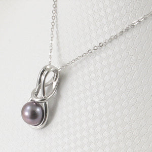 Love Knot Design Black Cultured Pearl Pendant Crafted Solid Silver 925