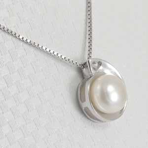 Solid Sterling Silver .925 Genuine Natural White F/W Cultured Pearl Pendant