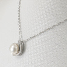 Load image into Gallery viewer, Solid Sterling Silver .925 Genuine Natural White F/W Cultured Pearl Pendant