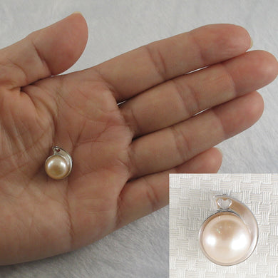 Genuine Natural Pink F/W Cultured Pearl; Solid Sterling Silver 925 Pendant