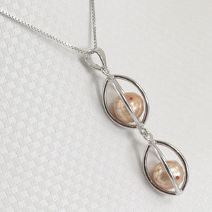 Solid Sterling Silver 925 Lucky Lanterns w/ Beige Cultured Pearl Pendant