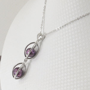 Sterling Silver 925 Lucky Lanterns Design Purple Cultured Pearl Pendant