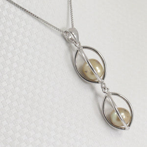 Sterling Silver 925 Lucky Lanterns Design Olive-Green Cultured Pearl Pendant