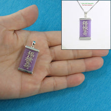 Load image into Gallery viewer, 9210042-Sterling-Silver-Three-Stars-of-Luck-Tablet-Lavender-Jade-Oriental-Pendant
