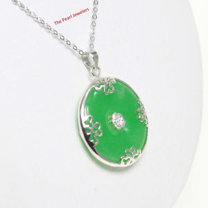 9210053-Solid-Sterling-Silver-Butterflies-on-Cabochon-Green-Jade-Pendant