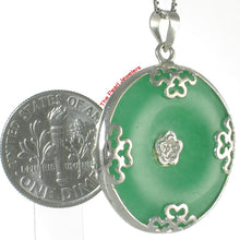 Load image into Gallery viewer, 9210053-Solid-Sterling-Silver-Butterflies-on-Cabochon-Green-Jade-Pendant
