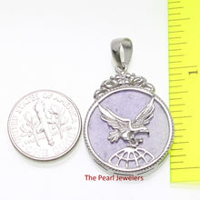 Load image into Gallery viewer, 9210062-Sterling-Silver-Eagle-Carving-On-Lavender-Jade-Flat-Tablet-Pendant