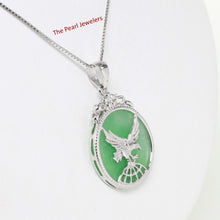 Load image into Gallery viewer, 9210063-Sterling-Silver-Eagle-Carving-On-Green-Jade-Flat-Tablet-Pendant-Chain
