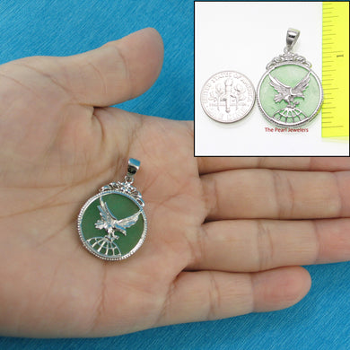 9210063-Sterling-Silver-Eagle-Carving-On-Green-Jade-Flat-Tablet-Pendant-Chain