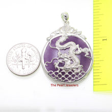 Load image into Gallery viewer, 9210092-Solid-Sterling-Silver-Dragon-Carving-Lavender-Jade-Cabochon-Pendant-Necklace
