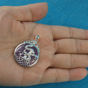 9210092-Solid-Sterling-Silver-Dragon-Carving-Lavender-Jade-Cabochon-Pendant-Necklace